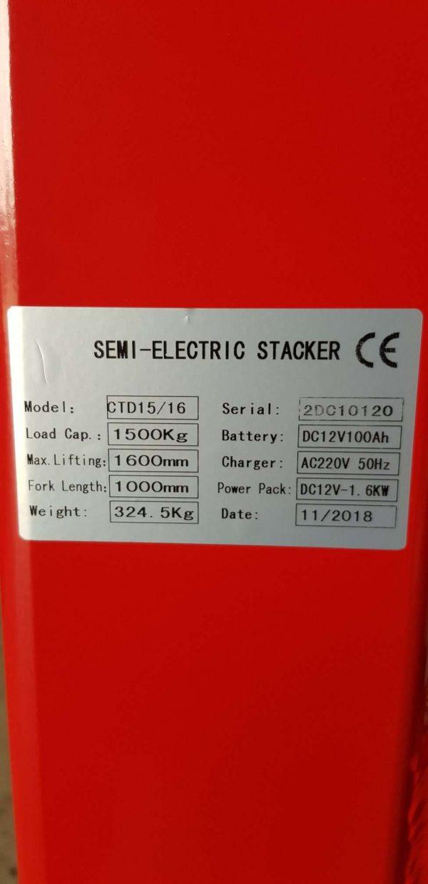 GE16N - Semi-Electric Narrow 1.5Ton/1.6m
